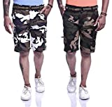 Timbre Men Stylish Premium Cotton Cargo Shorts 9 Pockets and Free Waist Belt