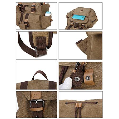 Canvas Einkaufen Freizeit Rucksack Reisen Bergsteigen Dating Rucksack Lightweight Computer Tasche Khaki