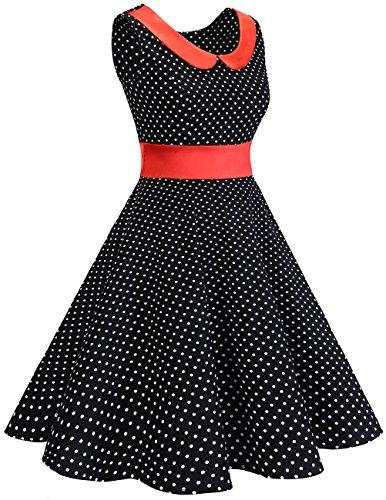 Dresstells Version 9.0 Vintage 1950s robe de soirée cocktail rétro style années 50 col rond sans manches Black Small White Dot