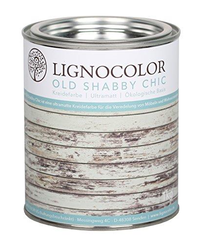 Kreidefarbe Shabby Chic Lack Landhaus Stil Vintage Look Chalky finish 1kg (Weiss)