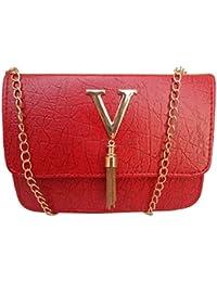 Good Life Stuff High Quality Leatherette Small Size Sling Bag Shoulder Bag Cross Bag Handbag For Women In Red...