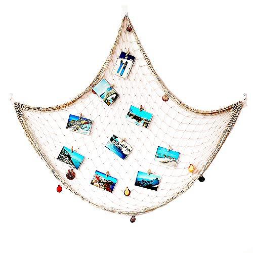 meleg otthon Fischernetz Deko,Foto wanddekoration,Muscheln Deko,Mediterranen Stil Fischerei Dekorative mit Farbigen Muscheln,Circa 150 x 200 cm (Beige)