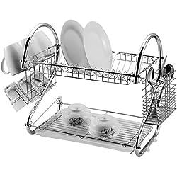 St@llion® Porte-vaisselle égouttoir à deux niveaux 45,72cm, Acier inoxydable, chrome, Approx 42 x 24.5 x 39.5cm ( L X W X H)