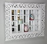 Espejo-de-rejilla-blanco-antiguo-estanteras-conejera-espejo-pared-de-la-cabaa-adornos-hechos-a-mano-vitrina-de-coleccionista-de-madera