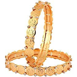 The jewelbox classic 22K gold plated lakshmi coin american diamond bangle pair for Women