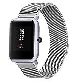 squarex Milanaise magnetisch Loop Edelstahl Armband Uhrenarmband für Xiaomi huami amazfit Bip (begriffsklärung) Jugend Armbanduhr, Damen, Silber, AS Show