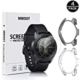 MWOOT 2 Pezzi Pellicola in Vetro Temperato e Custodie per Samsung Galaxy Watch 46MM e Samsung Gear S3 Frontier (Non con Classic) Bianco e Nero