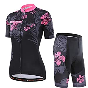 51uqdrzruJL. SS300 Donne Manica Corta Jersey Abbigliamento Set, Ciclismo Magliette Corta Jersey Camicia + 3D Gel Imbottito Pantaloncini Ciclismo Equitazione Bike Sportswear