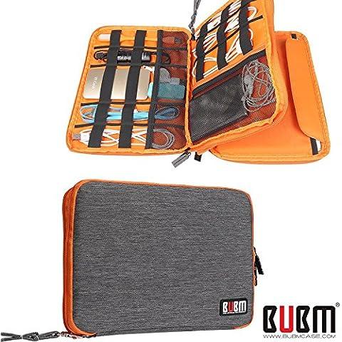 BUBM Bolsa Universal de Doble Capa de los Cables de la Caja para el Cable USB Cargador de Batería Almacenamiento de Casos Mobile Disk Bag Organizador de viajes Acolchados Caso Electrónico para iPad Mini - Gris y Naranja