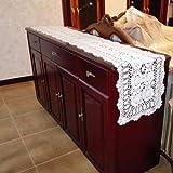 Yazi weiß Tischläufer Baumwolle Handwerk Crochet Shabby Vintage gehäkelt Tisch Sofa Spitzendeckchen 60x 90cm