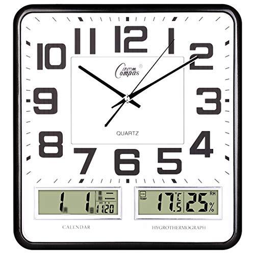 Orologio da parete silenzioso orologio da polso a temperatura umidità display lcd orologio da polso al quarzo quadrato da 16 pollici argento oro nero (color : black)