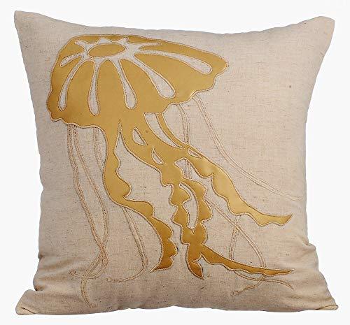Beige kissen, Meeresbewohner Ocean und Strand-Thema Metallisches Leder Applique kissenbezüge, 50x50 inch dekokissen, Blumen Mittelmeer- kissenbezüge, Bettwäsche aus Baumwolle sofakissen-Gold Jellyfish