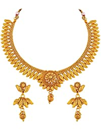 Asmitta Designer Gold Plated Copper Necklace Set For Women