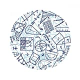 DIYthinker Blau handgemaltes Math Lineal Rechner Illustration Anti-Rutsch-Boden Haustier-Matten Runde Badezimmer Wohnzimmer Küche Tür 80 cm Geschenk 80 X 80Cm Mehrfarbig