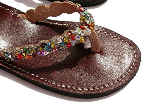 Orientalische Leder Schuhe Orient Sandalen - Damen Mehrfarbig
