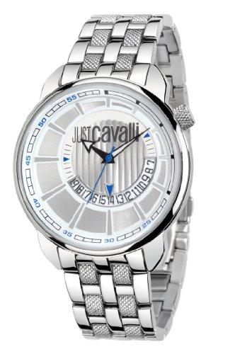 Just Cavalli R7253181015 - Reloj analógico de cuarzo para hombre con correa de acero inoxidable, color plateado