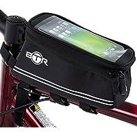 BTR Borsa per bicicletta con custodia porta telefono cellulare touch anche per smartphone. Impermeabile, Nera. NUOVA versione 2017 migliorata adatta ad OGNI tipo di bici