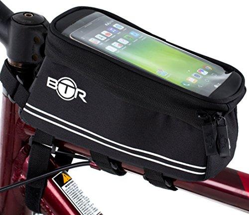 BTR Fahrradtasche mit Mobiltelefon-Halterung - Wasserabweisende Fahrrad-Rahmentasche. Schwarz. Neue verbesserte Edition, für alle Fahrradtypen geeignet