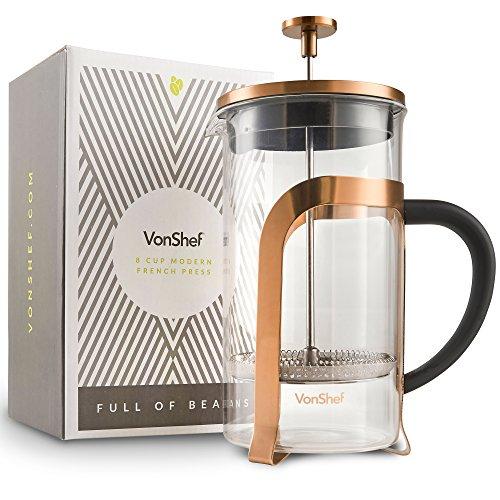 VonShef French Press 8Tassen Kaffeebereiter Glas/Kupfer Farbige Edelstahl Kaffeemaschine