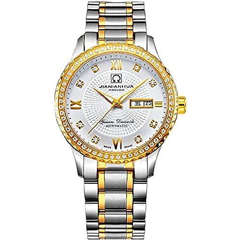downj impermeabile luminoso automatico diamante oro e acciaio orologio da uomo - Womens Diamante Orologio Automatico