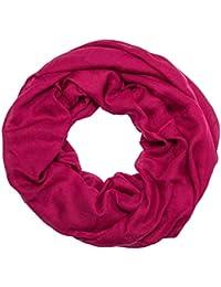 950ba2c7aacd40 MANUMAR Loop-Schal für Damen einfarbig   feines Hals-Tuch in Unifarben als  perfektes