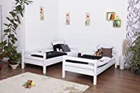 Bunk bed / Children's bed Moritz solid beech wood, in a white paint finish, includes roll-up grille - 90 x 200 cm