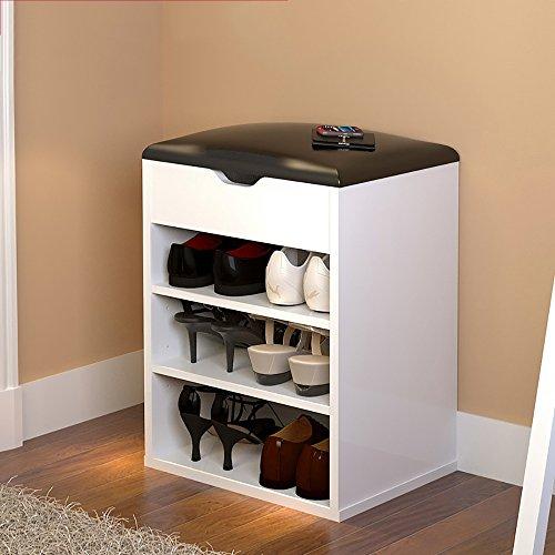 LJHA Tabouret pliable Repose-pieds moderne / chaussure armoire / multifonctions bottes tabouret de rangement / tabouret de canapé (6 couleurs en option) chaise patchwork ( Couleur : Blanc , taille : 40*54cm )