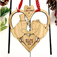Personalised wedding day anniversary keepsake plaque | gift wall heart | Christmas tree bauble or first decoration | for him or her
