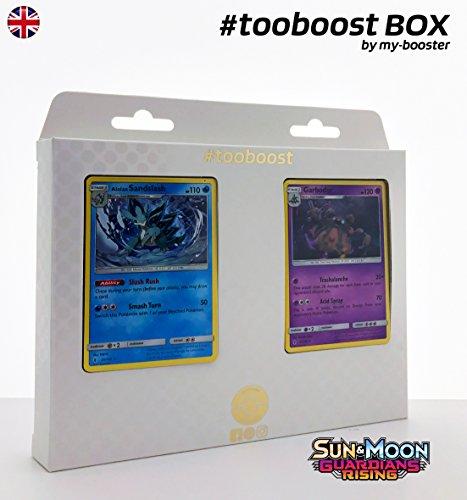 ALOLAN Sandshrew (Alola-SANDAMER) 20/145 & GARBODOR (DESPONITOX) 51/145 - #tooyboost X Sun & Moon 2 Guardians Rising - Box mit 10 englische Pokémon-Karten