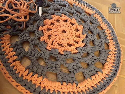 Alfombra redonda mandala hecha mano trapillo naranja