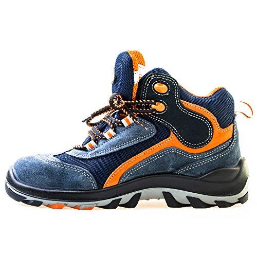 Jalatte® Sicherheitsstiefel S1P LOG304 Blau Herren - sehr leicht, durchtrittsicher, metallfrei, antistatisch, Wildleder (39)