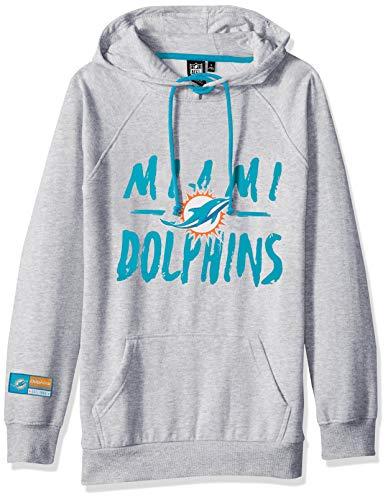 Icer Brands NFL Miami Dolphins Damen Fleece-Kapuzenpullover, Krawattenhalsausschnitt, Größe L, Grau