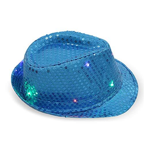 XINGKEJI LED leuchten Pailletten Fedora Hut Jazz Caps Party Kostüm Hüte für Tanzparty - Bunte Jazz Kostüm