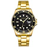 Yanhoo Herrenmode Military Edelstahl Datum Sport Quarz Analoge Armbanduhr Exquisit Luxus Klassische Business Männer Uhren Multifunktions Wasserdicht 30M (Gold B)