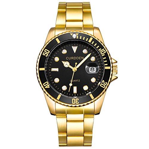 Yanhoo Herrenmode Military Edelstahl Datum Sport Quarz Analoge Armbanduhr Exquisit Luxus Klassische Business Männer Uhren Multifunktions Wasserdicht 30M (Gold B) (Rose Gold Luxus-uhr Genf)