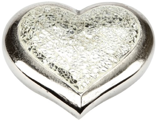Urns UK Infinity Art Heavenly Heart Satin Mosaic Urn, Satin Nickel
