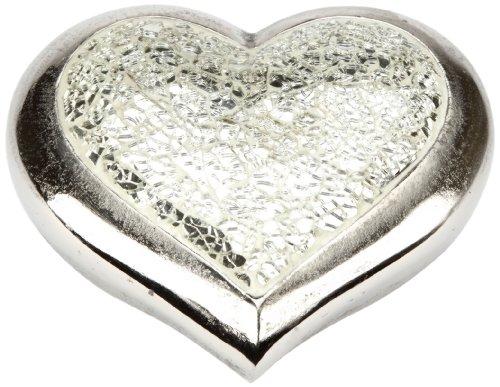 Urns UK Infinity Art Heavenly Heart Satin Mosaic Urn, Satin Nickel