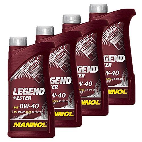 Preisvergleich Produktbild 4x 1 L Liter Mannol Legend+Ester 0W-40 Motor-Öl Motoren-Öl; Spezifikationen/Freigaben: SAE 0W-40; API SM/CF; ACEA A3/B3/B4; MB 229.3