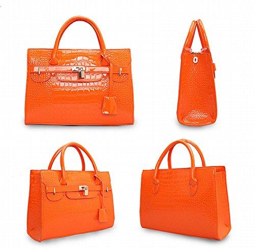 Platin-Krokodil-Muster Große Tasche Mode Handtasche Handtasche Weibliche Sperre Tasche Helle Orange