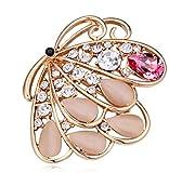 Sojewe Damen Schmetterling Brosche Swarovski Elements Kristall White Opal Vergoldet Kleid Zusatz Geschenk für Party Freundin