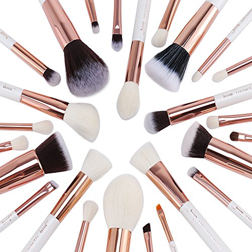 Jessup Brand 25pcs Professional Makeup Brush set Beauty Cosmetic Foundation Power Blushes eyelashes Lipstick Natural-Synthetic Hair Brushes (Pearl White/Rose Gold)