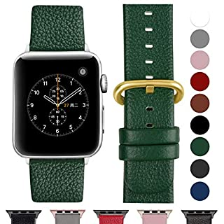 Fullmosa Compatible Apple Watch Strap 42mm and 38mm, 14 Colors Genuine Leather iWatch Strap/Band for Apple Watch Series 3, Series 2, Series1 Nike+ Hermes&Edition,42mm Dark Green-GD