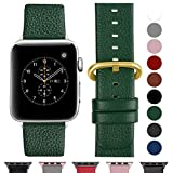 Fullmosa Compatible Apple Watch Bracelet 42mm/44mm(Serie 4) Cuir Véritable, Bracelet Apple Watch/iwatch Series 4 3 2 1,Nike+ Hermes & Edition,42mm 44mm Vert foncé+Boucle en Or Polissage