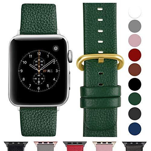 Fullmosa kompatibel Watch Armband 42mm und 38mm, Echtes Leder Uhrenarmband Ersatzband für Watch Series 3,2,1, Nike+ Hermes&Edition,Dunkelgrün+goldene Schnalle 42mm