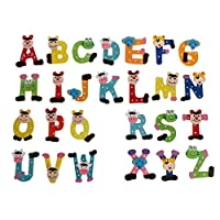 26Pcs/Set Wooden Alphabet Magnetic Fridge Magnets Colorful Cartoon Animals Letters a-Z Refrigerator Stickers Educational Learning Toys for Kids
