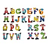 Valcano 26 Teile/Satz Kinder Baby Pädagogisches Lernspielzeug Holzbuchstaben Alphabet Kühlschrank Kühlschrank Magnetische Aufkleber Cartoon Bunte Tier Aufkleber A-Z