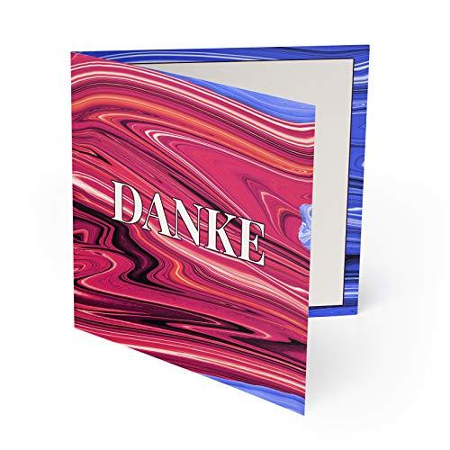 (80 x) Hochzeit Danksagungskarten Dankeskarten Danke Danksagungen Karten - Rot & Blau