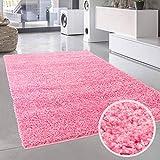 carpet city Shaggy Hochflor-Teppich Einfarbig, Uni Pink in rechteckig, rund, quadratisch für Wohn- und Schlafzimmer mit weichen Flor; Größe: 100x200 cm