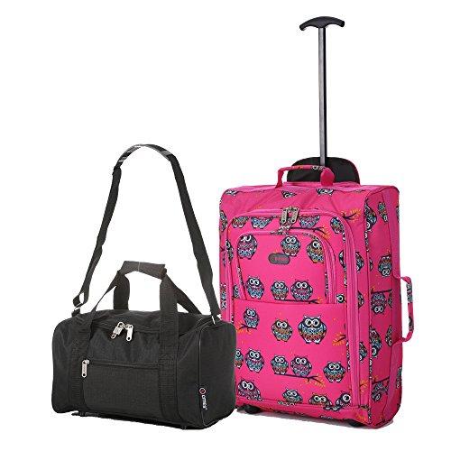 Ryanair Cabine 55x40x20 cm & deuxième sac de transport Ryanair 35x20x20 - Emmenez les deux! (Chouettes Pink / Noir)