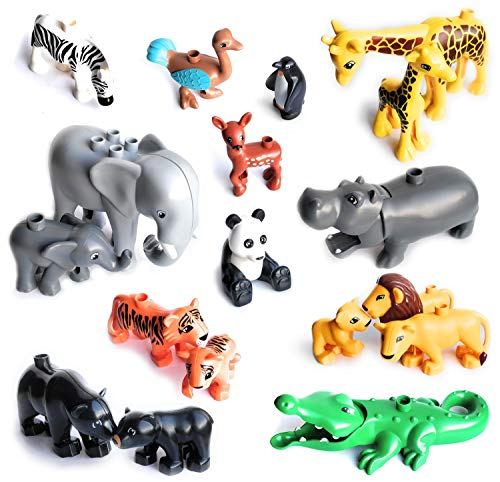 Preisvergleich Produktbild Aliris 18 Zootiere und 5 Zäune - Kompatibel mit Duplo - Um die Welt Wildpark Dschungel Safari